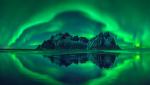 mountains and aurora borealis